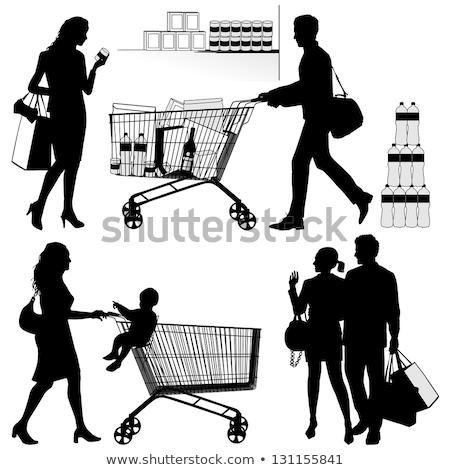 Vásárlás sziluett két nő hordoz bevásárlótáskák dobozok Stock fotó © coolgraphic