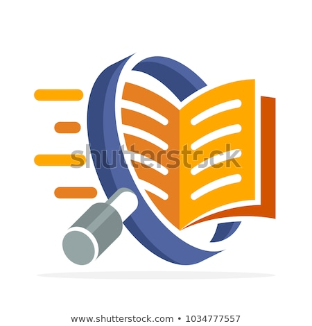 Stock photo: Books with magnifying glass.
