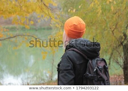 nő · nyugodt · ősz · arany · erdő · folyó - stock fotó © lunamarina
