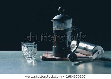 fincan · kahve · fasulye · öğütücü · tahta · karanlık - stok fotoğraf © oleksandro