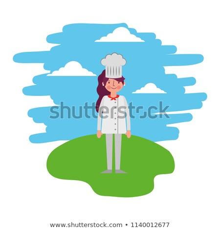 Szakács áll kapualj kék kalap női Stock fotó © photography33
