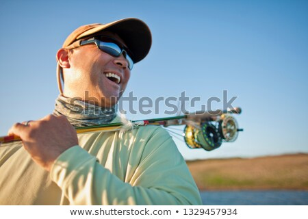 Homme canne à pêche épaule personne humaine Homme Photo stock © photography33