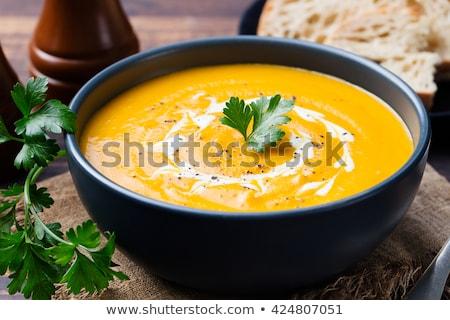 сквош · суп · чаши · хлеб · оранжевый · обеда - Сток-фото © stevemc
