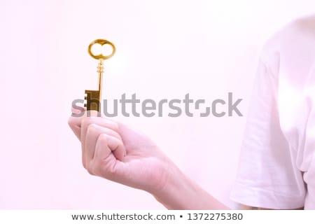 öreg arany kulcs kéz izolált fehér Stock fotó © pinkblue