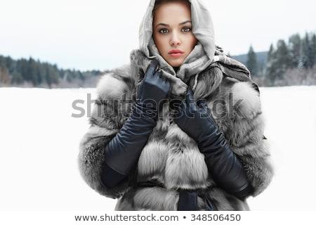 modèle · fourrures · écharpe · portrait · belle - photo stock © zastavkin