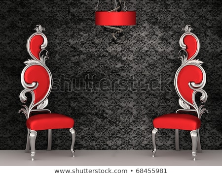two red chairs with royal back isolated on ornament wallpapers stock photo © victoria_andreas