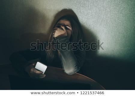 Technológia kétségbeesés nő imádkozik számítógép javít Stock fotó © smithore