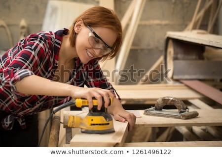 Fiatal nő ház lány boldog munka Stock fotó © photography33