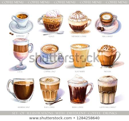 Café marqueur tasse grain de café bar lait Photo stock © M-studio