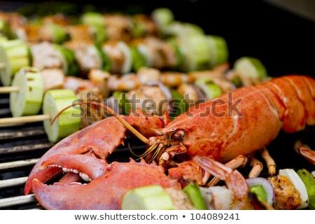 Сток-фото: Salmon Skewers And Lobster Bbq