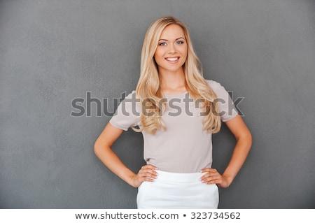 笑顔の女性 立って 手 ヒップ 白 ストックフォト © wavebreak_media