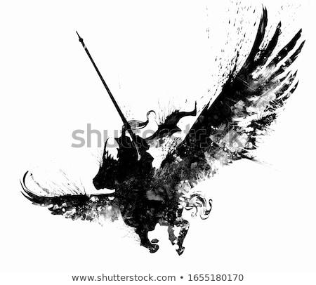 knight riding silhouette stock photo © patrimonio
