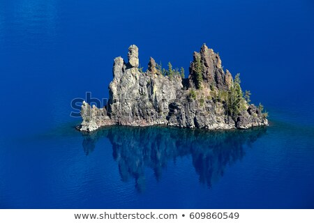Phantom Ship Island Crater Lake Reflection Blue Sky Oregon Stock photo © billperry