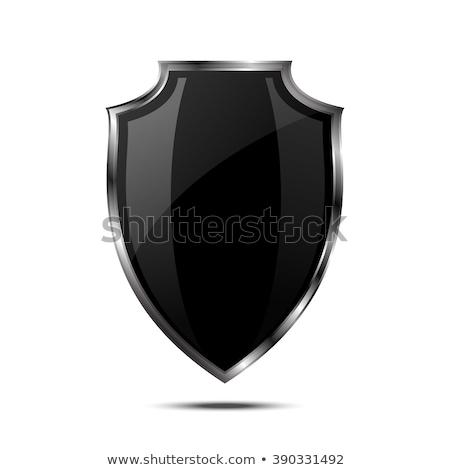 Glanzend zwart wit schild embleem wijnstok bladeren Stockfoto © mikemcd