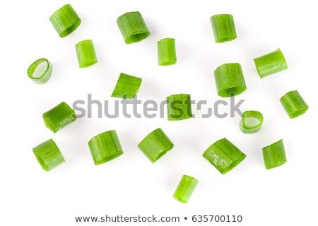 Friss újhagyma közelkép lövés zöld fehér Stock fotó © stockyimages