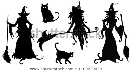 halloween witch silhouette stock photo © lordalea