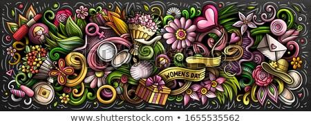 illusztráció · kellékek · ruha · cipők · ajkak · szemek - stock fotó © Glenofobiya