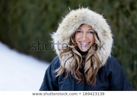 szépség · modell · nő · visel · szőrmebunda · gyémánt - stock fotó © dashapetrenko