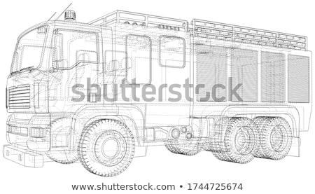 Nagy teherautó drót keret izolált 3d render Stock fotó © cherezoff
