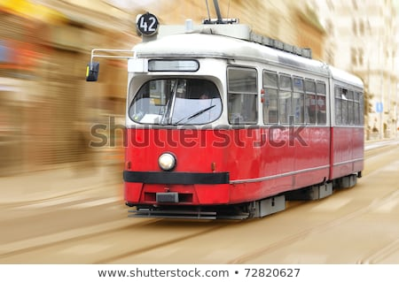 vintage tram in vienna in motion stock photo © meinzahn