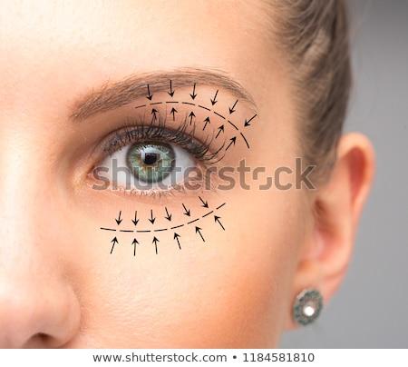 ストックフォト: 女性 · 手 · 眼 · 美 · 薬 · 肖像