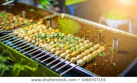 Hús golyók chili mártás finom thai étel Stock fotó © tungphoto