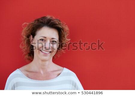 Model kırmızı kadın poz saç Stok fotoğraf © albertdw