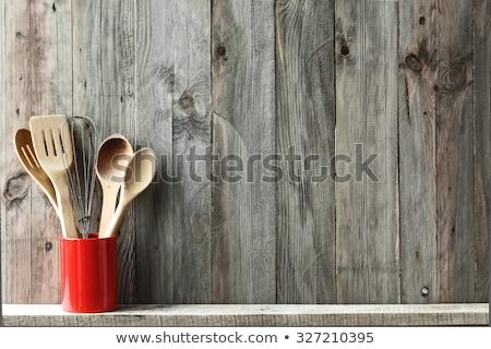 cocina · azul · placa · patrón · apoyo · cuchara - foto stock © balasoiu