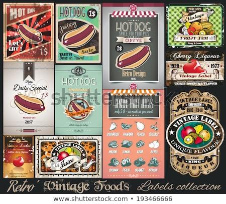 ayarlamak · bağbozumu · etiketler · meyve · fındık · meyve - stok fotoğraf © davidarts