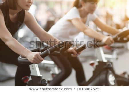Ilustração mulher esportes pôr do sol bicicleta bicicleta Foto stock © adrenalina