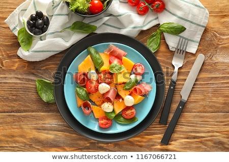 salata · kavun · mozzarella · yaz · akşam · yemeği · beyaz - stok fotoğraf © M-studio