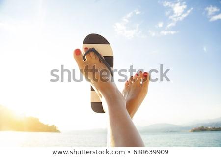 voeten · zomer · veel · kleurrijk · strand - stockfoto © ivonnewierink
