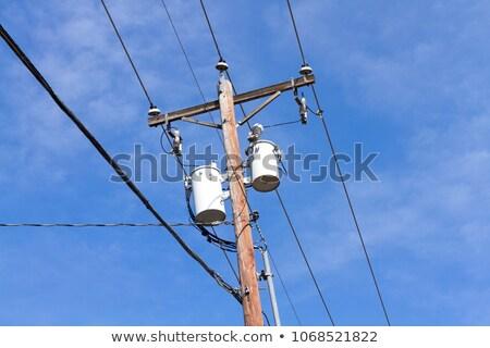 Transformatör kutup elektrik yarar gökyüzü Stok fotoğraf © rhamm