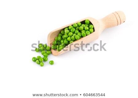 Fából készült merítőkanál zöld zöldborsó étel egészség Stock fotó © Zerbor