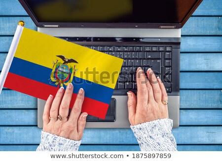 Handen werken laptop Ecuador tonen scherm Stockfoto © michaklootwijk