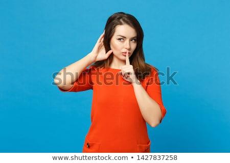 Oranje meisje vinger lippen mooie Stockfoto © stevanovicigor