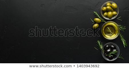 Extra olívaolaj fekete szűz üveg bögre Stock fotó © marimorena