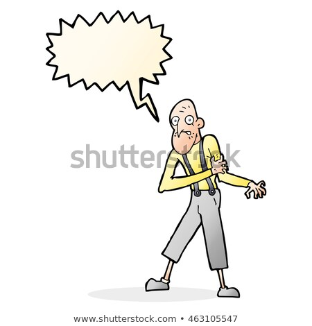 Cartoon oude man hartaanval tekstballon hand man Stockfoto © lineartestpilot