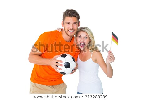 Futbol fan çift gülen kamera Stok fotoğraf © wavebreak_media