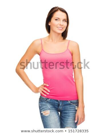 женщину розовый цистерна Top дизайна улыбающаяся женщина Сток-фото © dolgachov