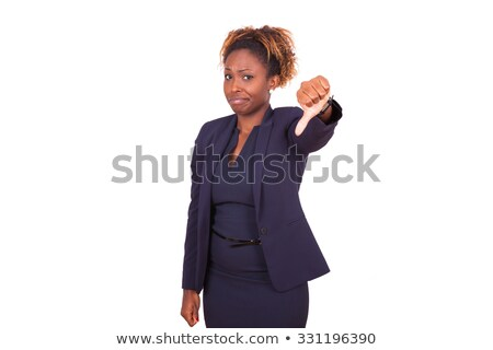 A pretty african american business woman with thumbs down stock photo © stryjek