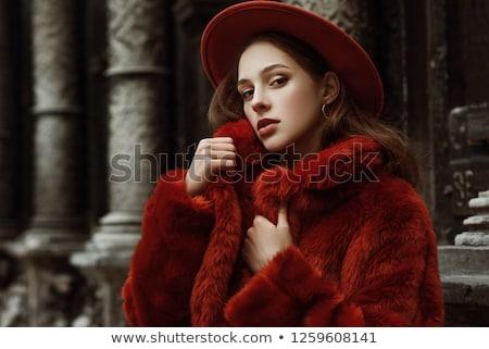 Portre güzel kız kırmızı kürk gri stüdyo Stok fotoğraf © fanfo
