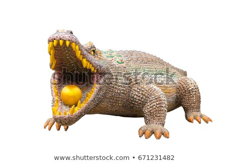 Szobor hatalmas krokodil gyönyörű nyitott szájjal természet Stock fotó © epstock
