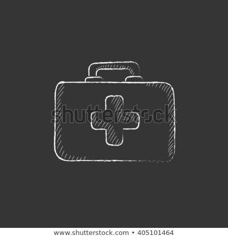elsősegély · készlet · rajzolt · kréta · ikon · kézzel · rajzolt - stock fotó © rastudio