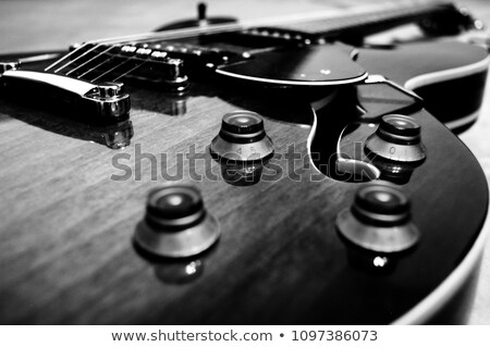Dzsessz gitár fehér elektromos gitár szett fekete Stock fotó © Bigalbaloo