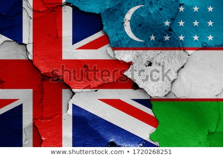 Stock photo: United Kingdom and Uzbekistan Flags