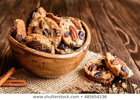 хрустящий гайка Cookies разделочная доска чай Кубок Сток-фото © Digifoodstock