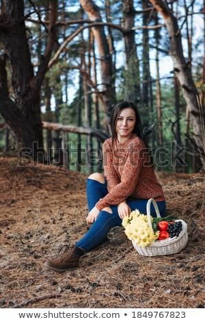 Young Women with basket on glade Stock photo © Paha_L