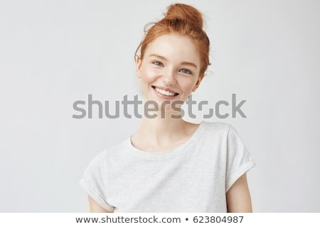 Genç sevimli gülen kız yalıtılmış beyaz Stok fotoğraf © Aikon