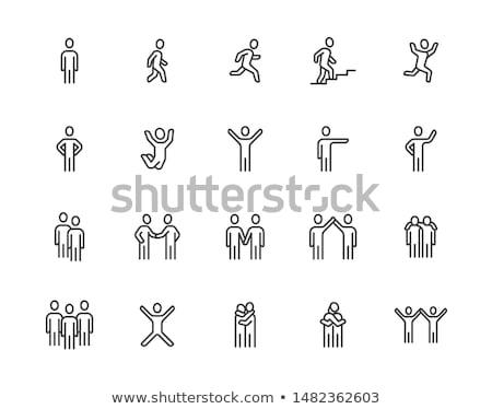 Hoogspringen lijn icon web mobiele infographics Stockfoto © RAStudio